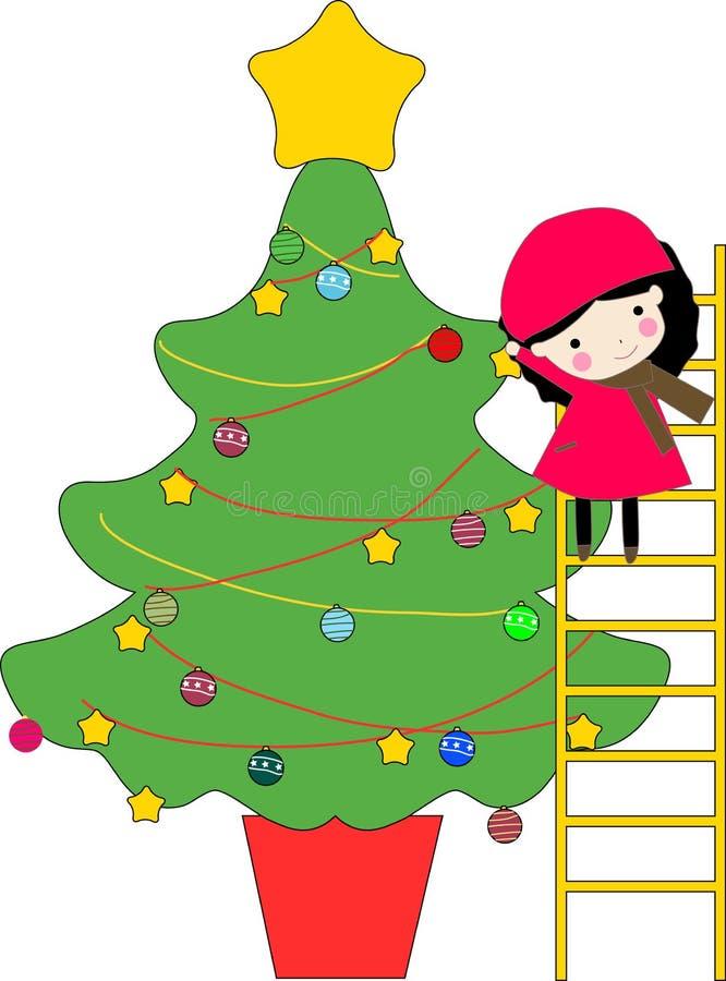 Arbre de gosse et de Noël illustration stock