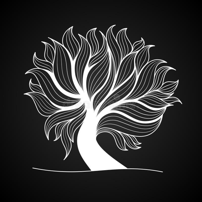 Arbre de griffonnage, couleur noire et blanche illustration libre de droits