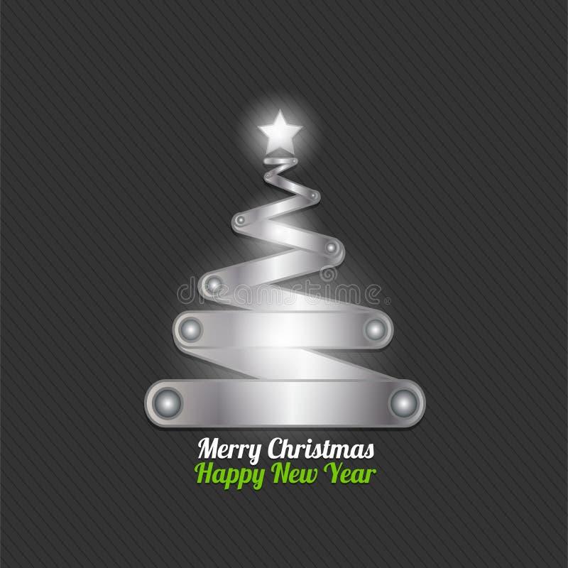 Arbre de Joyeux Noël effectué à partir de l'argent illustration stock