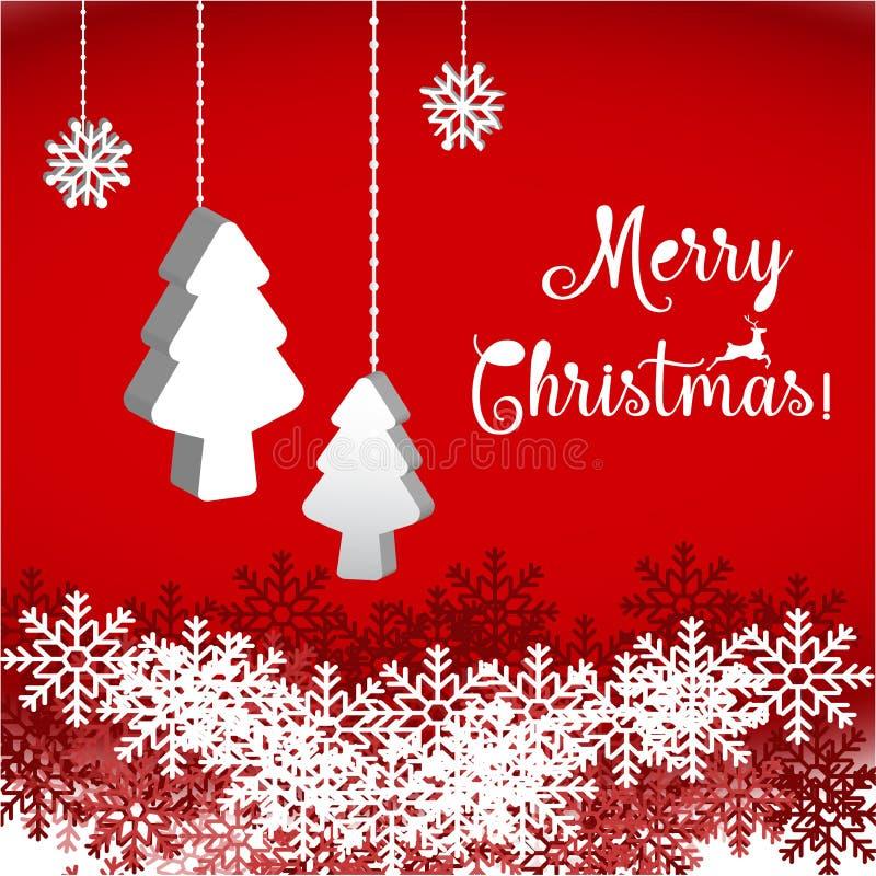 Arbre de Joyeux Noël et de bonne année, de Noël et flocon de neige illustration de vecteur