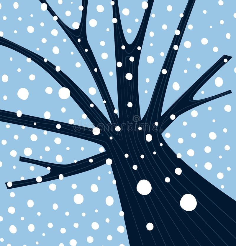 Arbre de l'hiver avec la neige en baisse illustration de vecteur