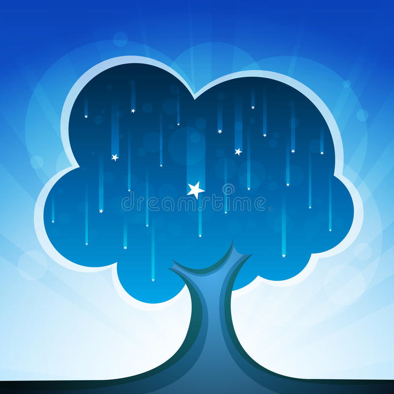 Arbre de la nuit illustration stock