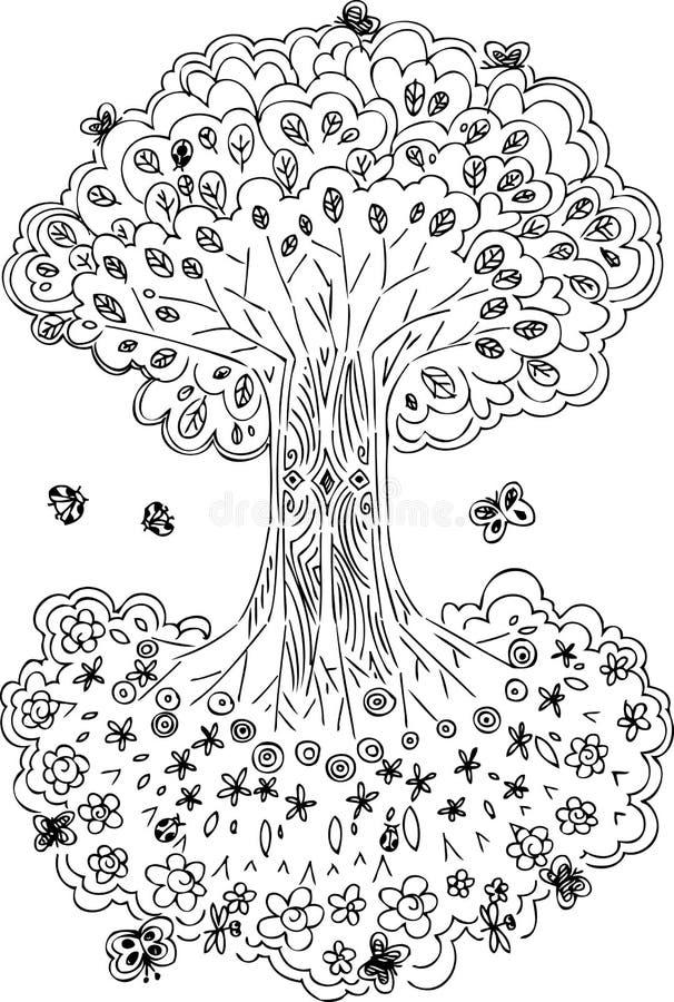Arbre de la vie noir et blanc illustration stock