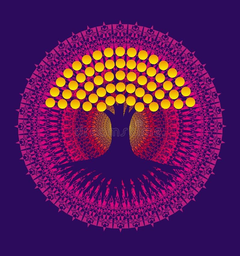 Arbre de la vie sur un fond d'un mandala pourpre avec les feuilles jaunes Vecteur illustration stock