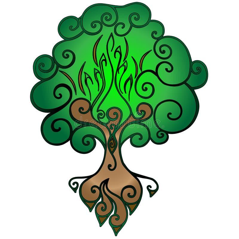 Arbre de la vie Un arbre avec des branches, une cavité et des racines illustration libre de droits