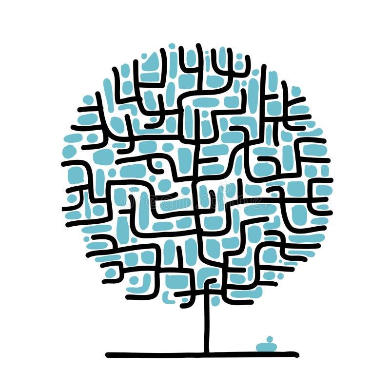Arbre de labyrinthe pour votre conception illustration libre de droits