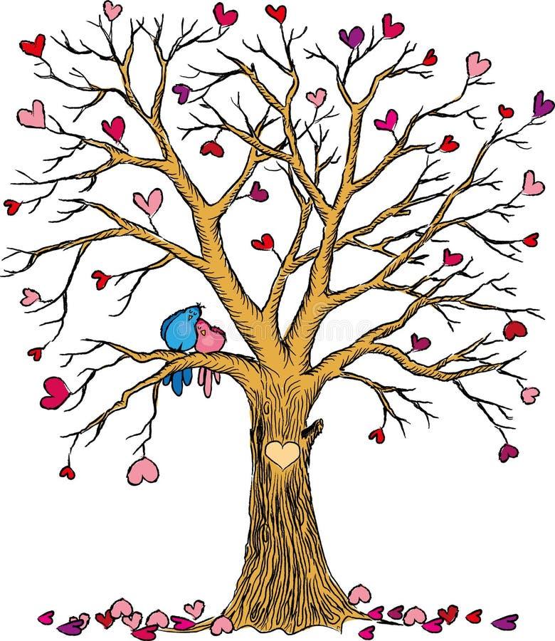 Arbre de mariage avec des coeurs et des couples d'oiseaux illustration libre de droits