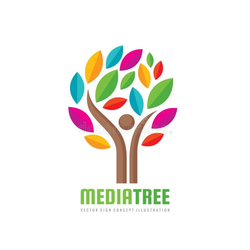 Arbre de media - calibre positif de logo de vecteur Illustration humaine de concept de caractère Signe d'homme de personnes illustration libre de droits