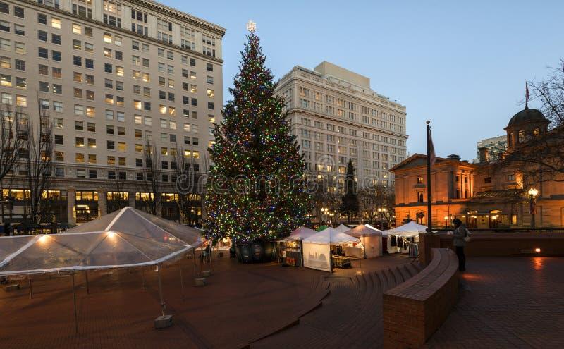 Arbre de Noël à Portland, OU image libre de droits