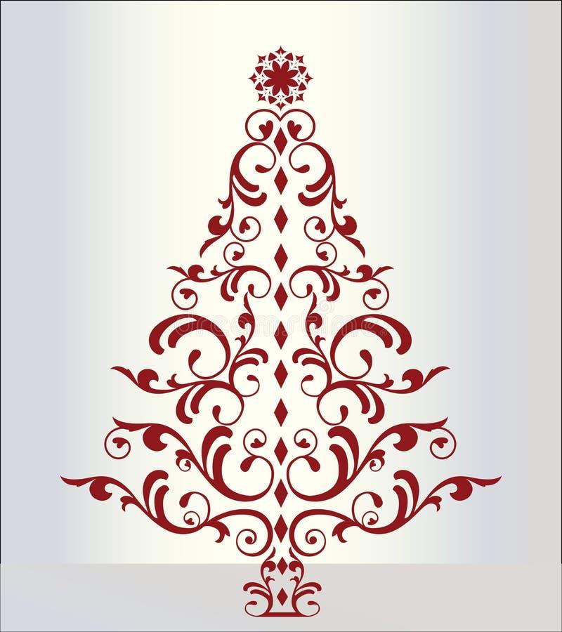 Arbre de Noël élégant en rouge illustration libre de droits