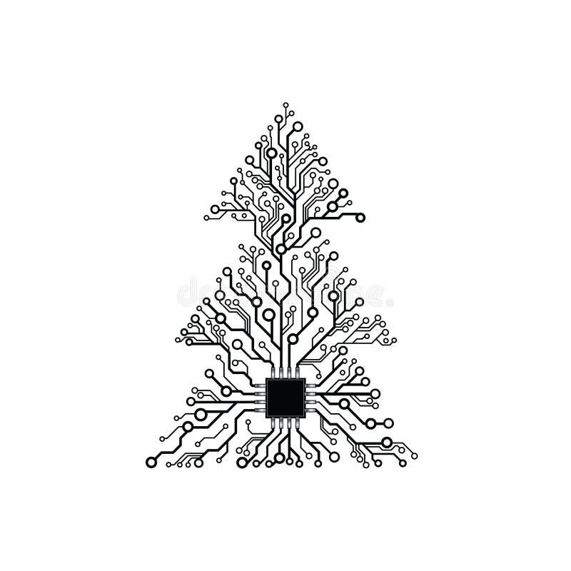Arbre de Noël électronique de vecteur illustration de vecteur