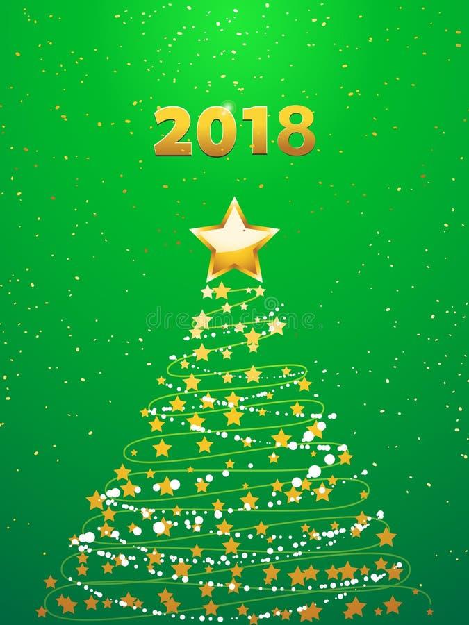 Arbre de Noël abstrait avec les étoiles d'or au-dessus du fond de fête vert avec 2018 d'or décoratif dans les nombres illustration libre de droits
