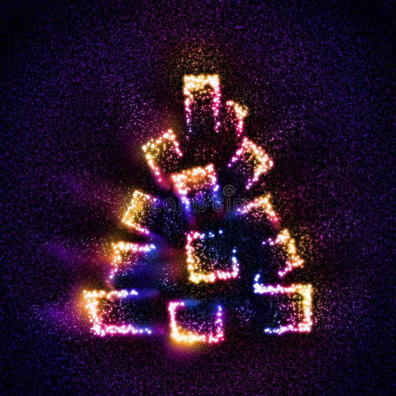 Arbre de Noël abstrait construit des étoiles photos libres de droits