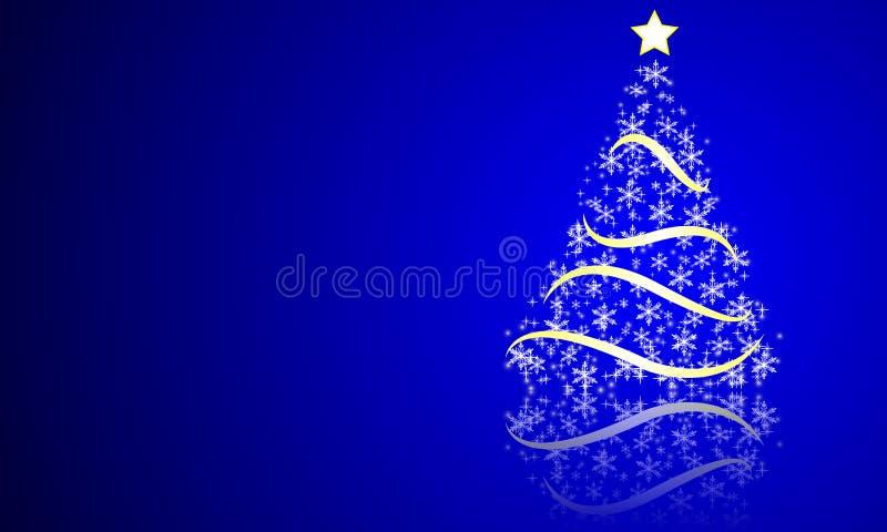 Arbre de Noël abstrait des étoiles et des flocons de neige illustration stock