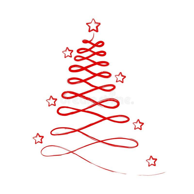 Arbre de Noël abstrait rouge avec des étoiles pour la carte de voeux, actions illustration de vecteur