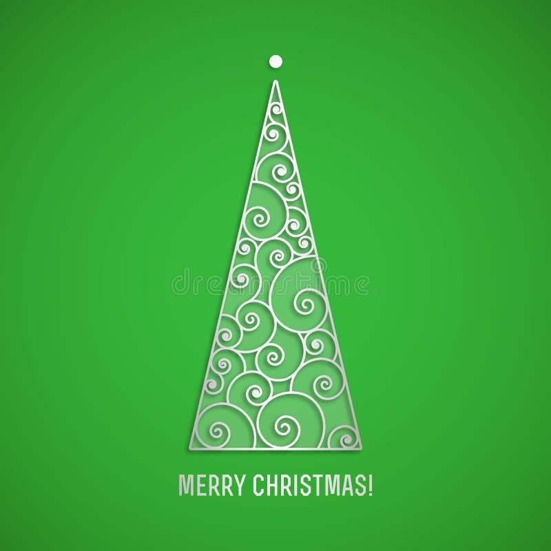 Arbre de Noël argenté élégant de remous avec l'ombre sur le fond vert Carte de voeux de vecteur illustration stock