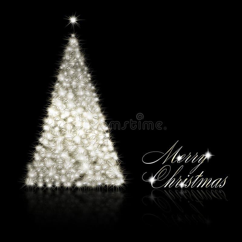 Arbre de Noël argenté sur le fond noir illustration de vecteur