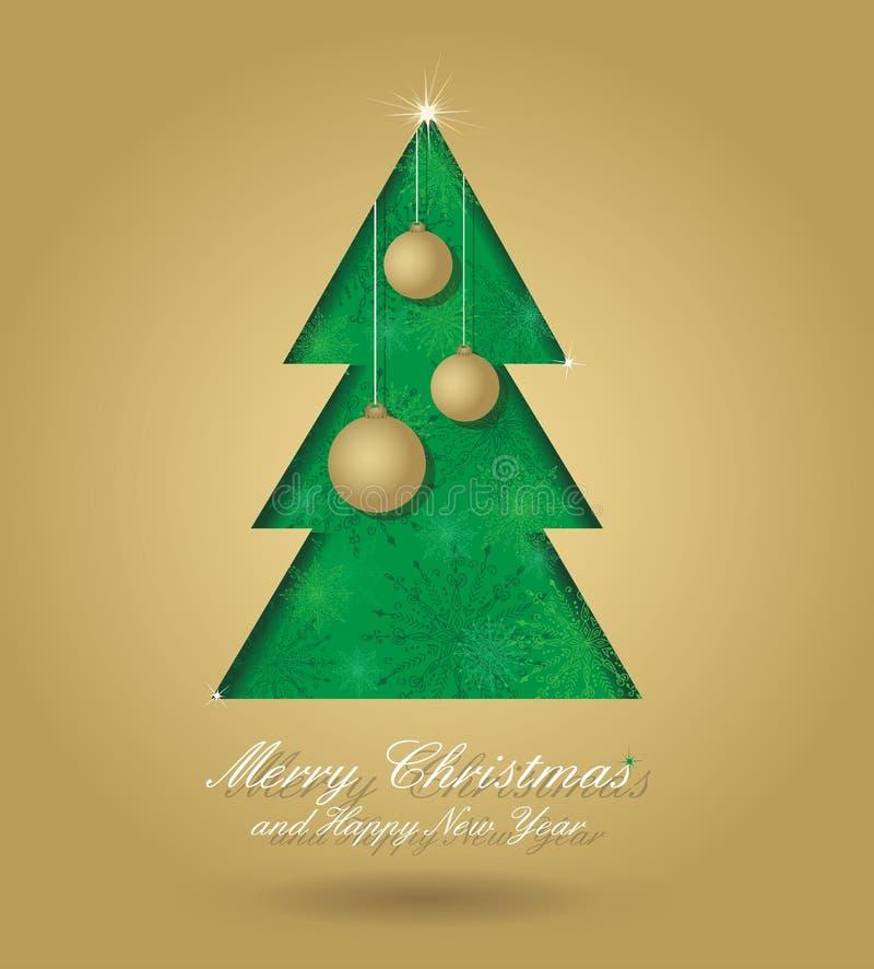 Arbre de Noël avec des billes illustration stock