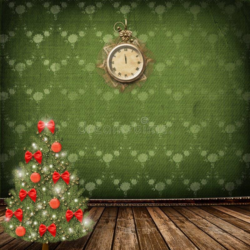 Arbre de Noël avec des billes et des proues illustration libre de droits