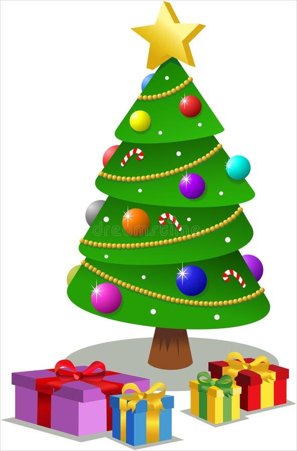Arbre de Noël avec des cadeaux illustration stock