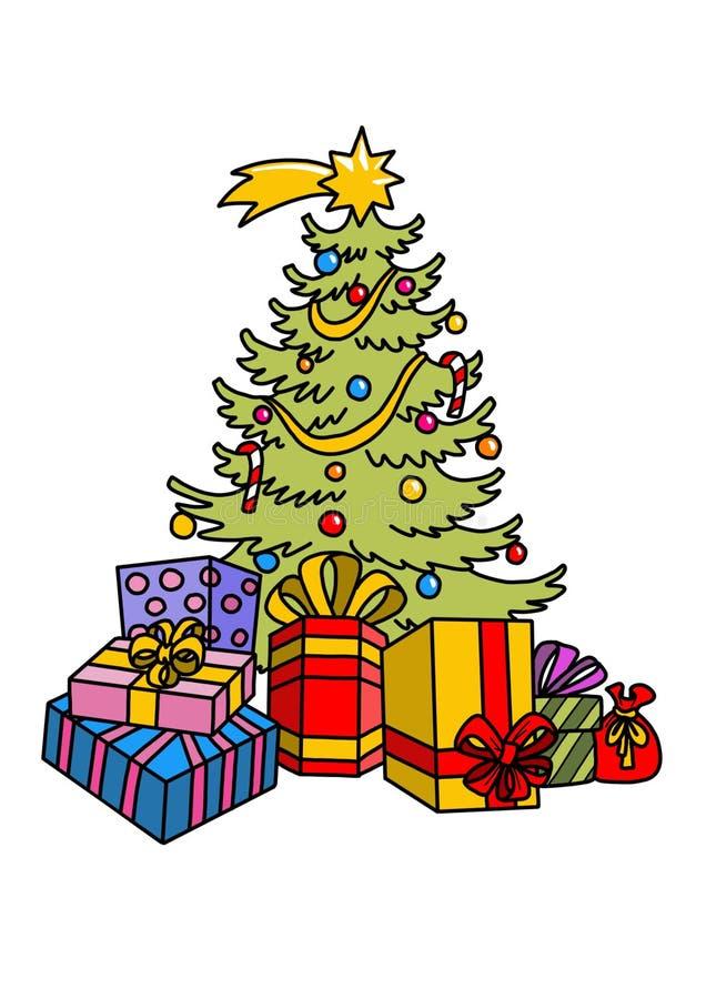 Arbre de Noël avec des cadeaux et des ornements photos stock