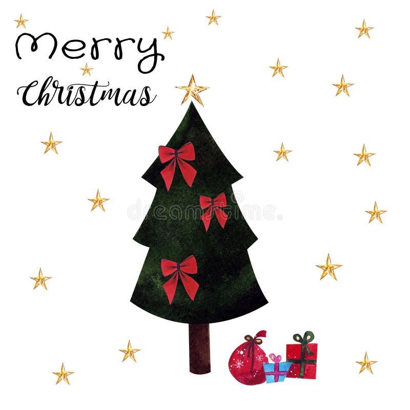 Arbre de Noël avec des cadeaux sur le fond blanc Illustration d'aquarelle Tiré par la main Carte postale illustration libre de droits