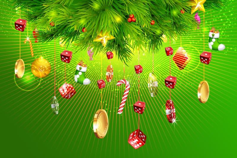 Arbre de Noël avec des pièces de monnaie d'argent, de matrices et de casino illustration de vecteur