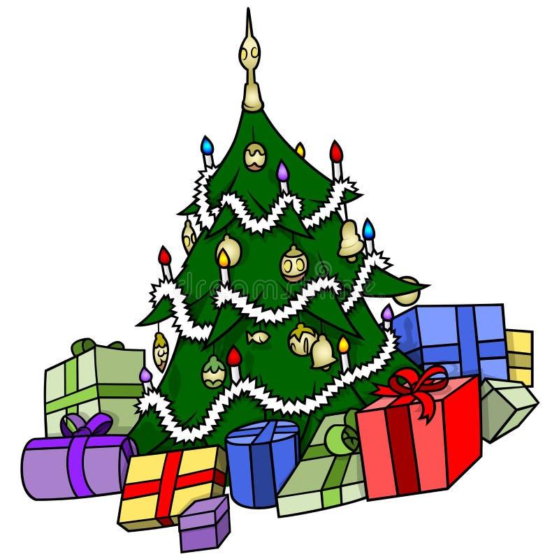 Arbre de Noël avec des présents illustration de vecteur
