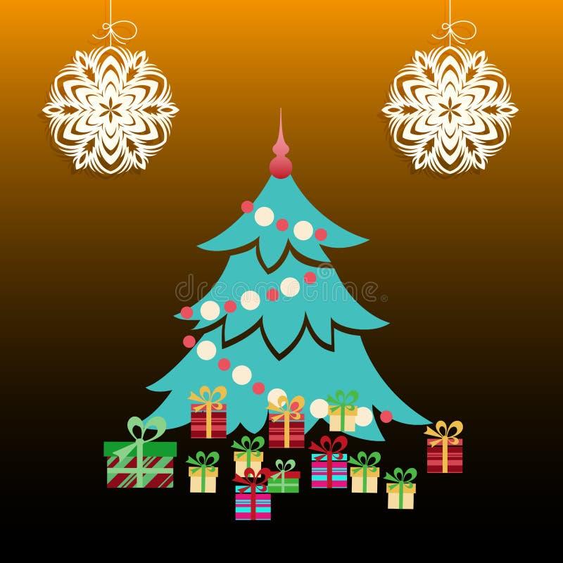 Arbre de Noël avec des présents illustration stock