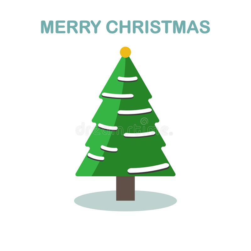 Arbre de Noël avec la boule, guirlande d'isolement sur le fond blanc Joyeux Noël, concept de bonne année Conception de bande dess illustration stock