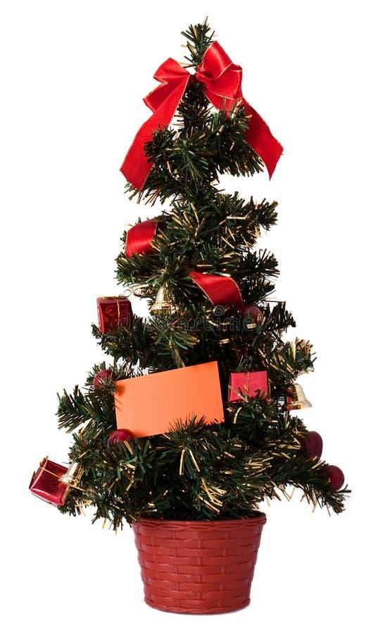 Arbre de Noël avec la carte vierge images stock