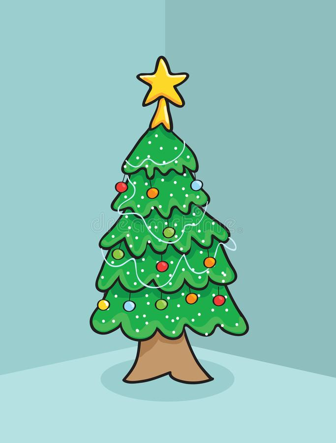 Arbre de Noël avec la conception de vecteur d'étoile photos stock