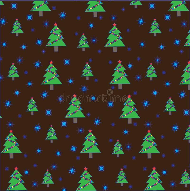 Arbre de Noël avec la guirlande et les flocons de neige sur le fond brun Configuration sans joint illustration stock