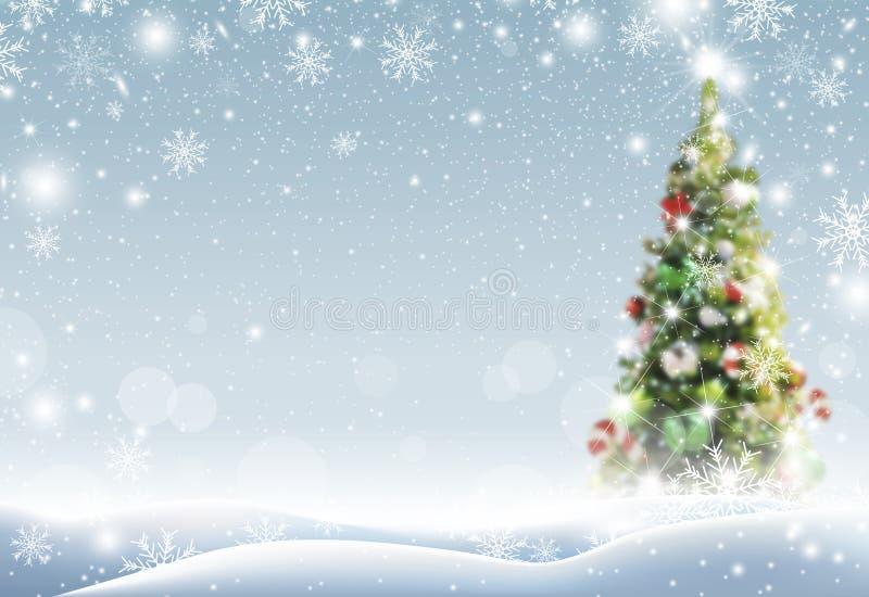 Arbre de Noël avec la neige tombant en hiver illustration de vecteur