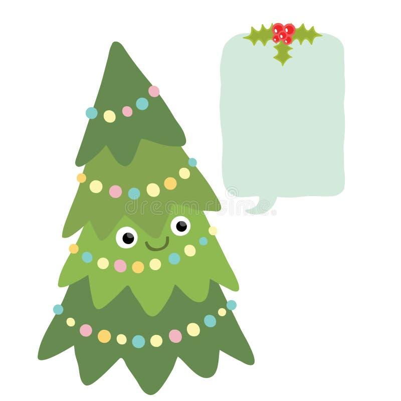 Arbre de Noël avec la parole de bulle. Fond de Noël illustration stock