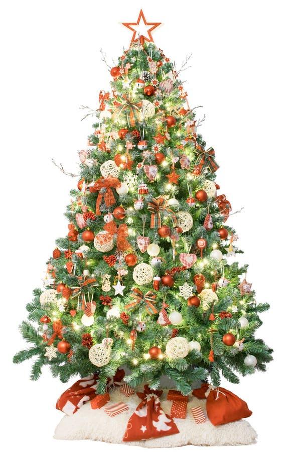 Arbre de Noël avec la rétro décoration, les lumières et les cadeaux D'isolement sur le fond blanc photographie stock libre de droits