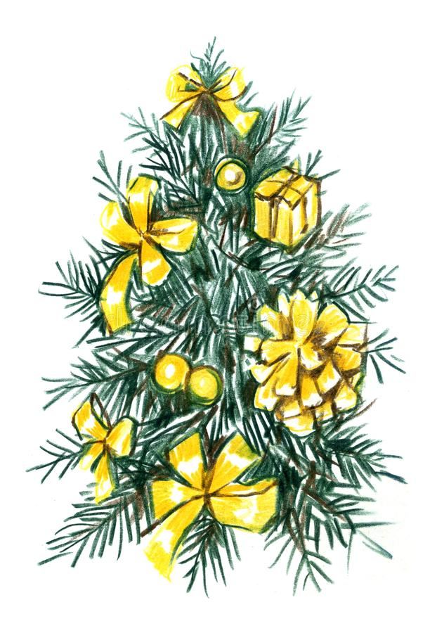 Arbre de Noël avec le llustration tiré par la main de boules Croquis réaliste de crayon illustration de vecteur