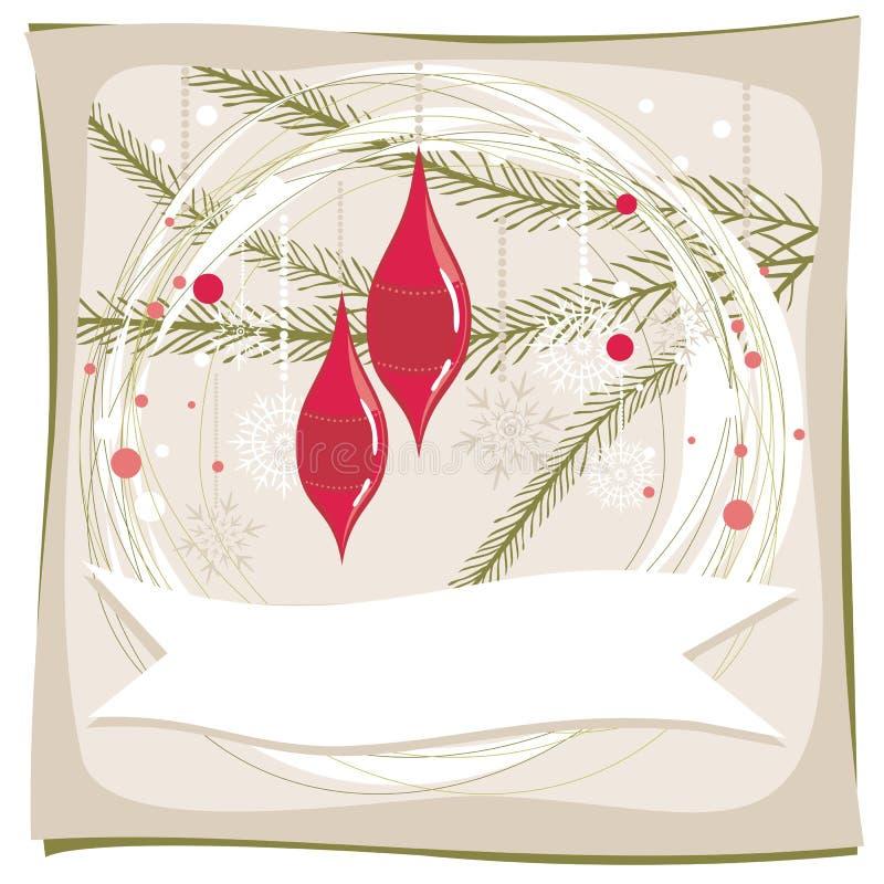 Arbre de Noël avec les billes en verre rouges illustration libre de droits