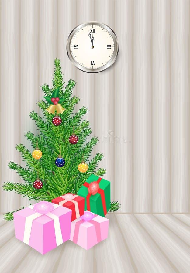 Arbre de Noël avec les boîte-cadeau et l'horloge sur le fond en bois, H illustration stock