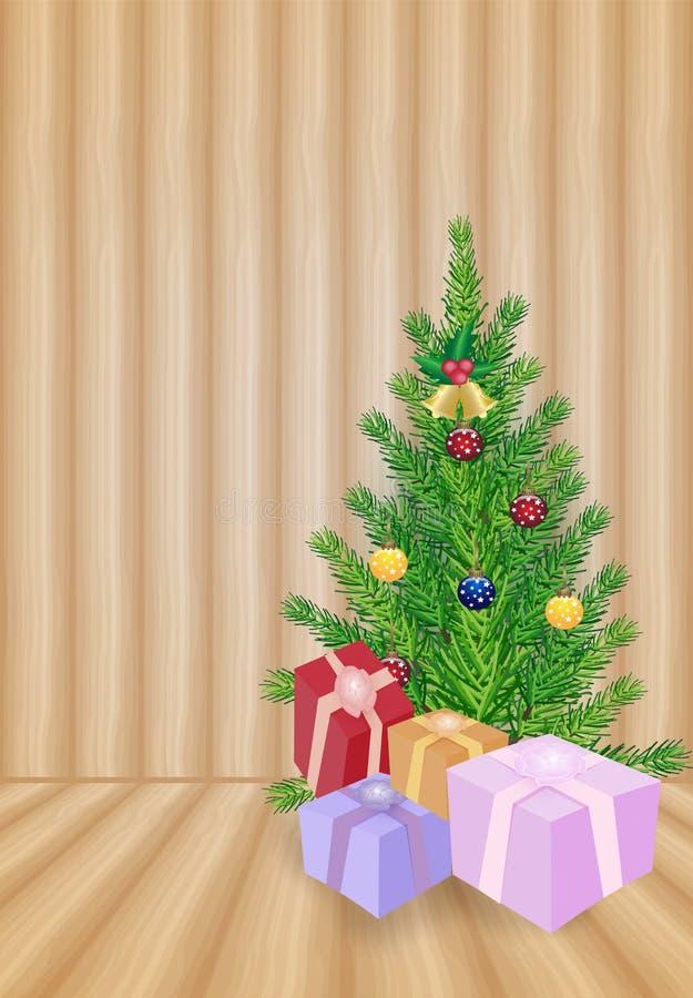 Arbre de Noël avec les boîte-cadeau et le fond en bois, vacances ch illustration de vecteur