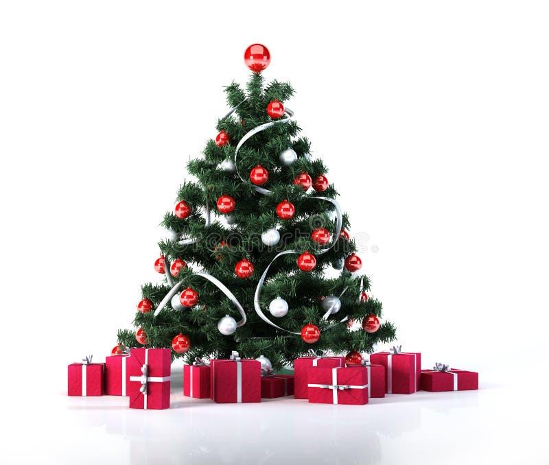 Arbre de Noël avec les boules d'or, la décoration et les paquets rouges de cadeaux. illustration libre de droits
