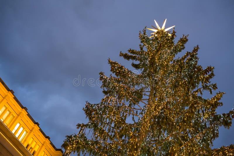 Arbre de Noël avec les quirlandes électriques photo stock