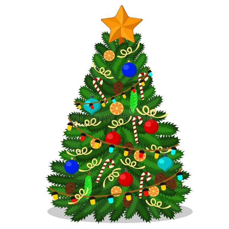 Arbre de Noël avec une étoile, boules, sucrerie, cônes, oranges illustration de vecteur