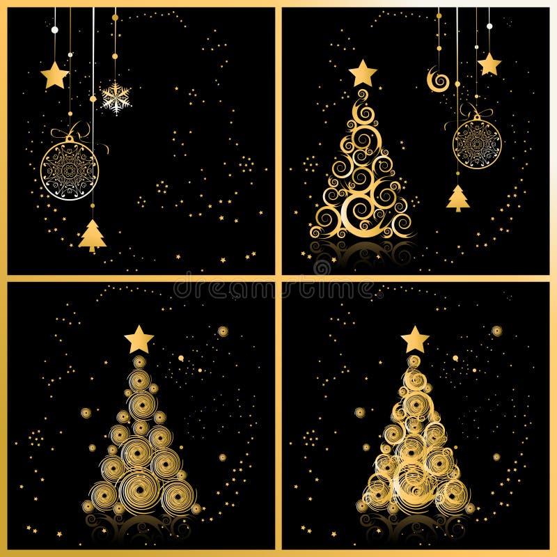 Arbre de Noël beau, cartes pour votre conception illustration stock