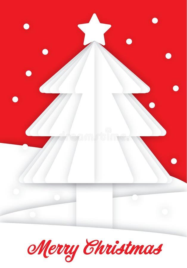 Arbre de Noël blanc avec la neige et le backgorund rouge Carte de voeux de papier d'art images stock