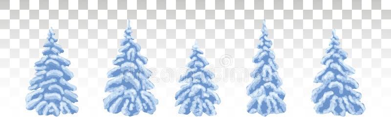 Arbre de Noël bleu dans la neige Nature givrée d'hiver Un ensemble de illustration de vecteur