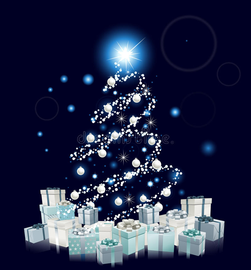 Arbre de Noël bleu de type moderne illustration libre de droits