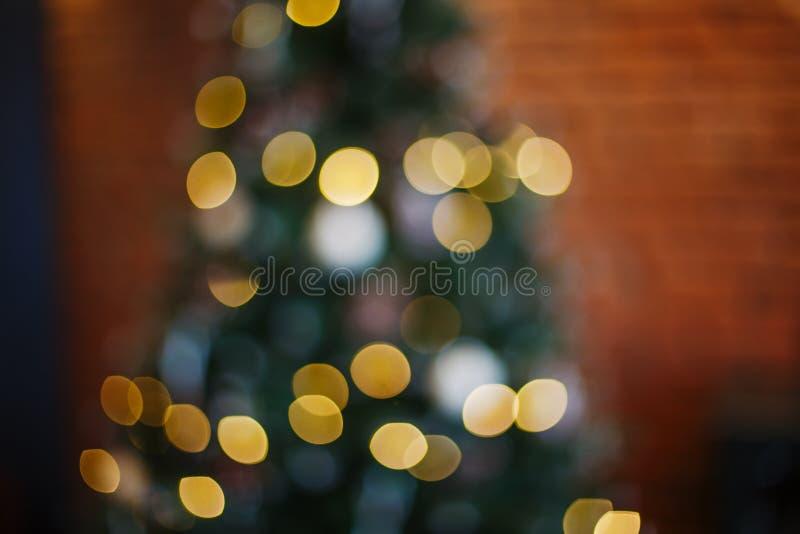Arbre de Noël Bokeh brouillé Fond abstrait de vacances photographie stock libre de droits