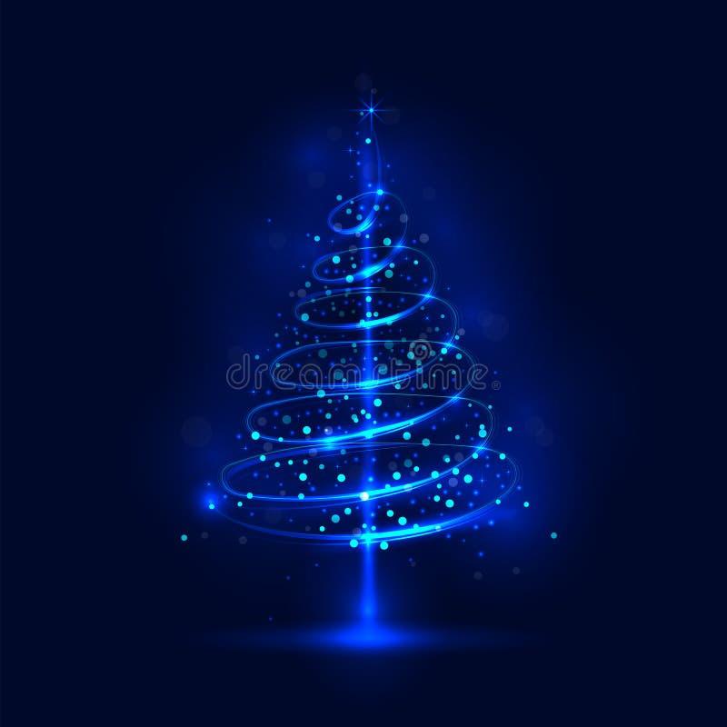 Arbre de Noël brillant, l'arbre de Noël magique illustration stock