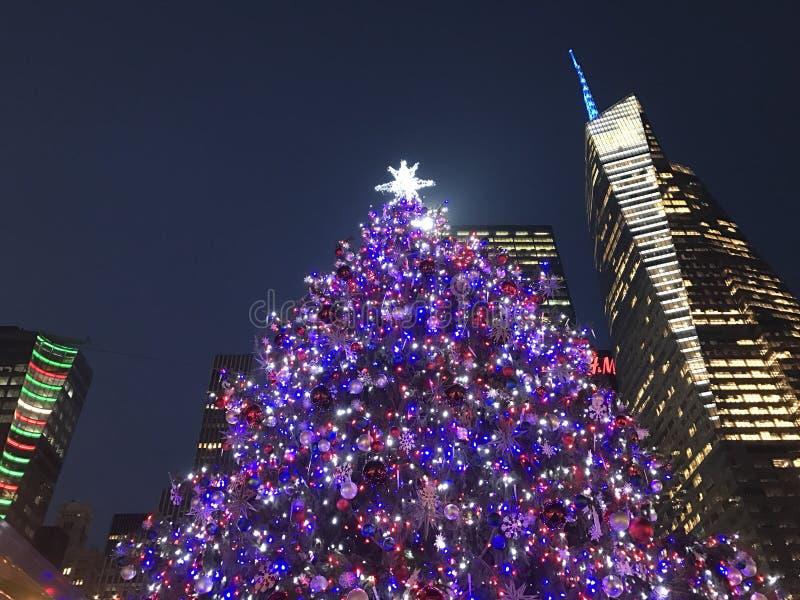 Arbre de Noël chez Bryant Park à Manhattan images stock